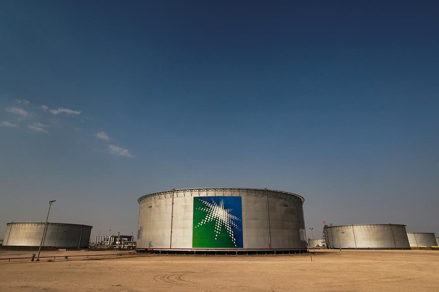 A view shows branded oil tanks at Saudi Aramco oil facility in Abqaiq, Saudi Arabia last month. -Reuters file photo