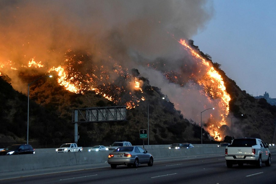 The Getty Fire burns near the Getty Center along the 405 freeway north of Los Angeles, California, US on October 28, 2019 — Reuters photo