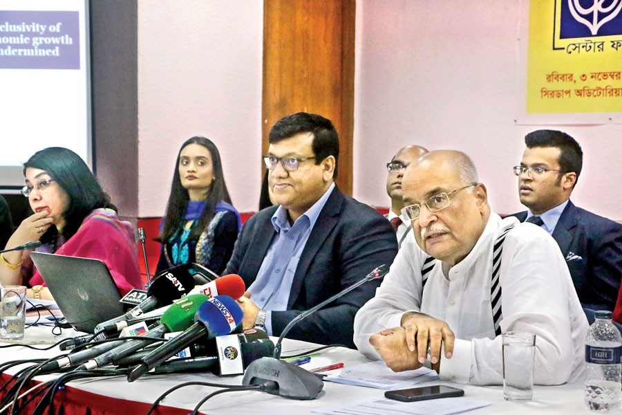 CPD distinguished fellow Dr Debapriya Bhattacharya speaking at a press conference in the city on Sunday — FE photo