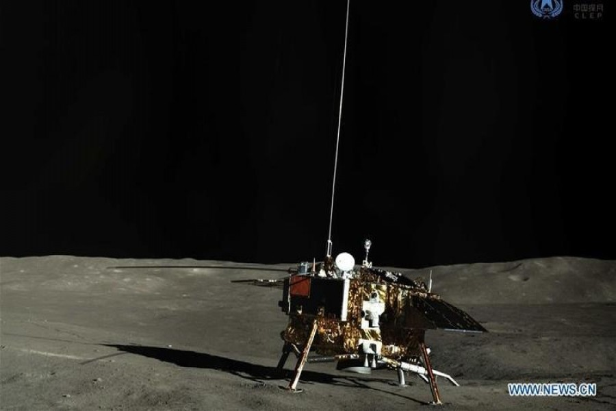This undated photo shows China's lunar rover Yutu-2 on the far side of the moon — China National Space Administration via Xinhua)