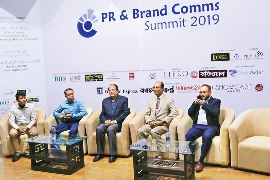 (From left) Zillur Rahman, head of project, Dream Deviser, AFM Asaduzzaman, director, Public Affairs, Benchmark PR, Dr Atiur Rahman, former governor, Bangladesh Bank, Nazmul Ahsan, CEO, ShobdoKolpoDrum and Syed Rabius Shams, summit coordinator and CEO of Ra'dia Inc