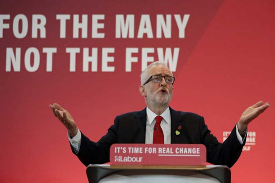 Jeremy Corbyn says the election is a 'once-in-a-generation chance' to transform the UK. -AP