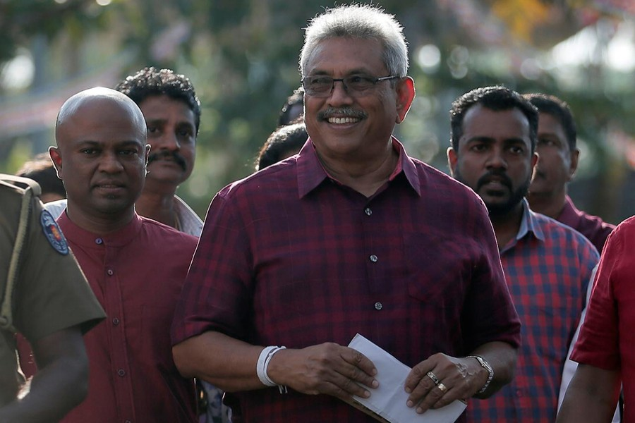 Sri Lanka People's Front party presidential election candidate and former wartime defence chief Gotabaya Rajapaksa leaves after casting his vote during the presidential election in Colombo, Sri Lanka on Saturday — Reuters photo