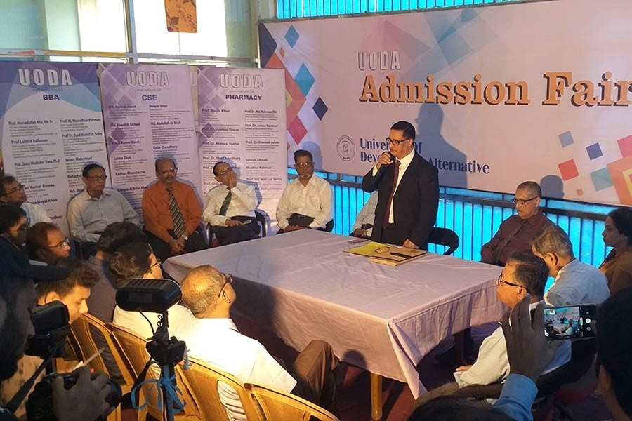 UODA founder and president Professor Mujib Khan addressing a press conference marking 11-day admission fair on the university campus in Dhanmondi area of Dhaka on Sunday.