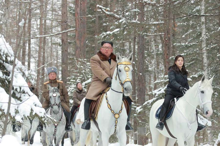 North Korean leader Kim Jong Un riding a horse as he visits battle sites in areas of Mt Paektu, Ryanggang, North Korea, in this undated picture released by North Korea's Central News Agency (KCNA) on December 4, 2019. -KCNA via REUTERS