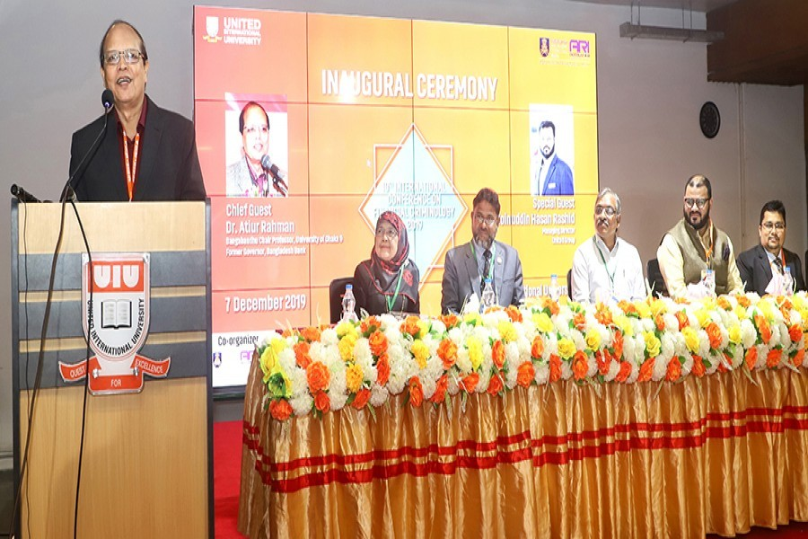 DU Bangabandhu Chair Professor Dr Atiur Rahman speaking at the inaugural session of an international conference on 'Financial Criminology' at United International University auditorium in the city on Saturday — FE photo