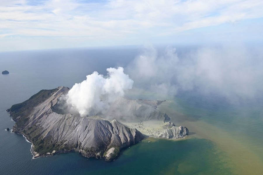 The aerial photo shows White Island after its volcanic eruption in New Zealand on Monday, December 9, 2019 — New Zealand Herald via AP