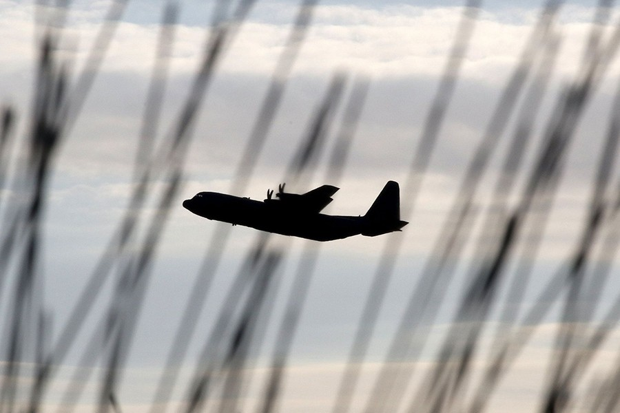 A silhouette of Hercules a C130 seen in this undated Reuters photo