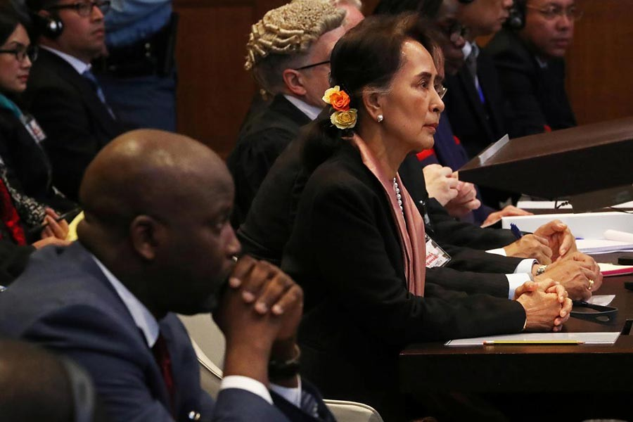 Gambia's Justice Minister Abubacarr Tambadou and Myanmar's leader Aung San Suu Kyi attend a hearing in a case filed by Gambia against Myanmar alleging genocide against the minority Muslim Rohingya population, at the International Court of Justice (ICJ) in The Hague, Netherlands on Tuesday. -Reuters Photo