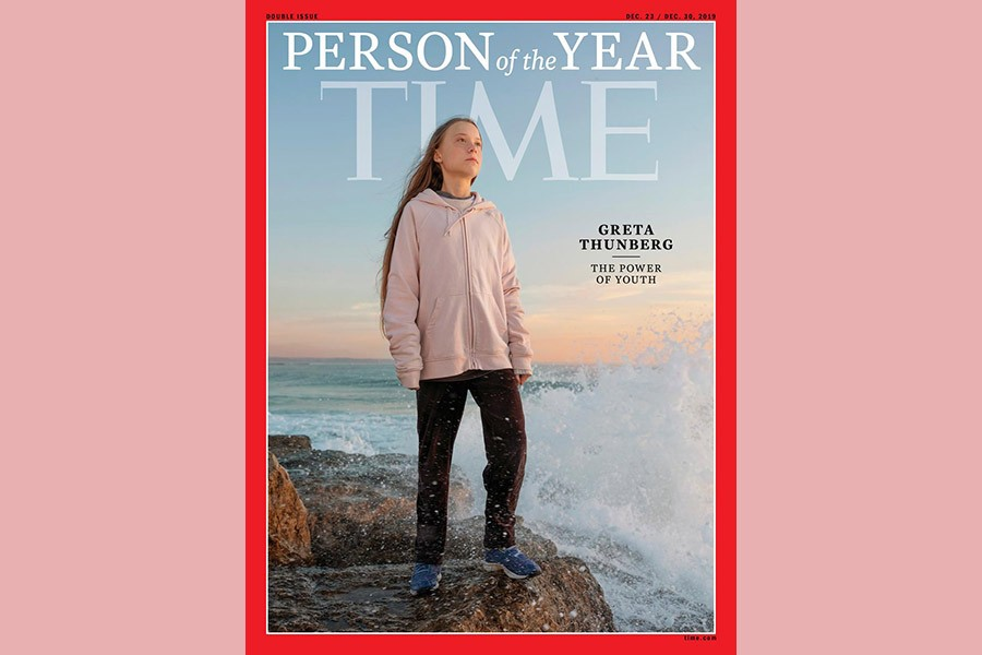 Time cover features Swedish teen activist Greta Thunberg named the magazine's Person of the Year for 2019 in this undated handout. -Time via Reuters