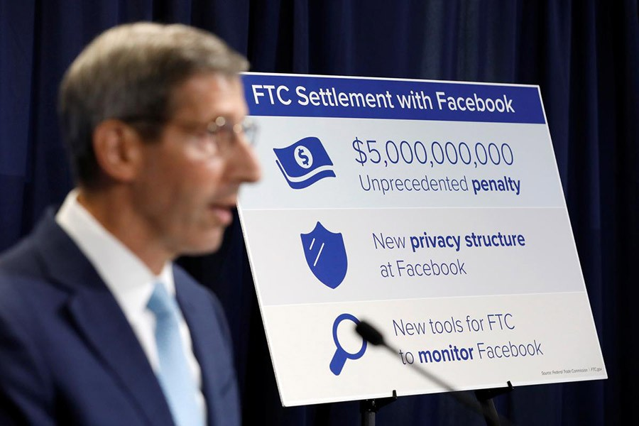 US Federal Trade Commission (FTC) Chairman Joe Simons announces that Facebook Inc has agreed to a settlement of allegations it mishandled user privacy during a news conference at FTC Headquarters in Washington, USA on, July 24, 2019.  —Photo: Reuters