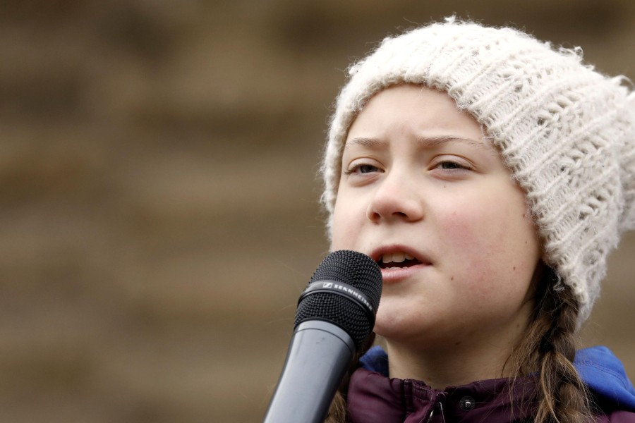 16-year-old Swedish environmental activist Greta Thunberg is seen on stage as she takes part in a protest claiming for urgent measures to combat climate change, in Hamburg, Germany, March 1, 2019. REUTERS/Morris Mac Matzen