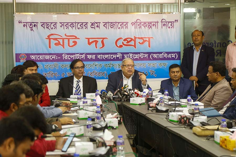 Expatriates' Welfare and Overseas Employment Minister Imran Ahmad addressing a 'Meet the Press' programme at the ministry conference room in Dhaka on Sunday. -Star Mail Photo