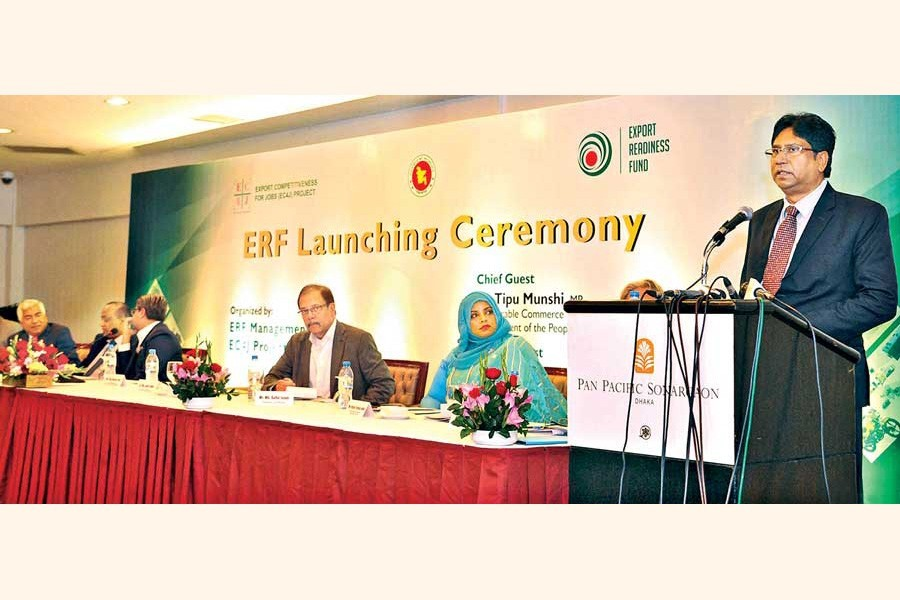 Commerce Secretary Dr Md Jafar Uddin speaking at the launching ceremony of Export Readiness Fund programme at a city hotel on Sunday— Focus Bangla