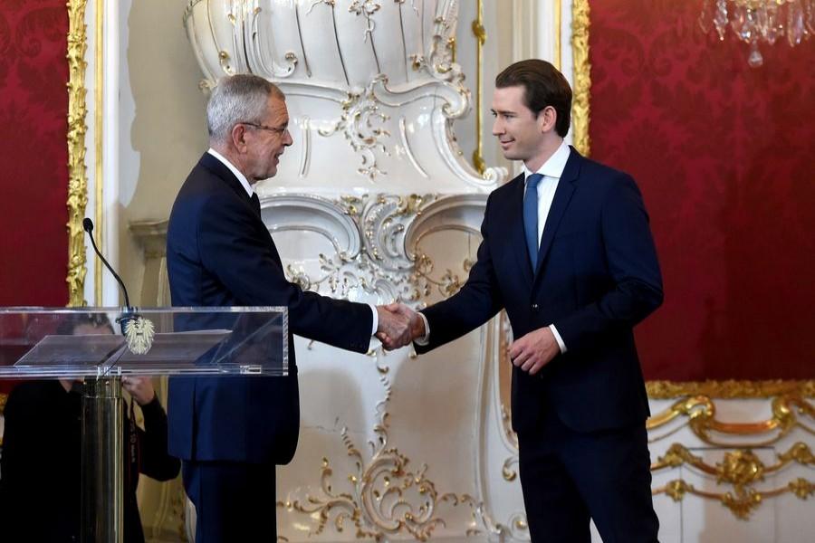 Austria's new Chancellor Sebastian Kurz (R) shakes hands with Austria's President Alexander Van der Bellen during the swearing-in ceremony in Vienna, Austria, Jan. 7, 2020.(Xinhua/Guo Chen)
