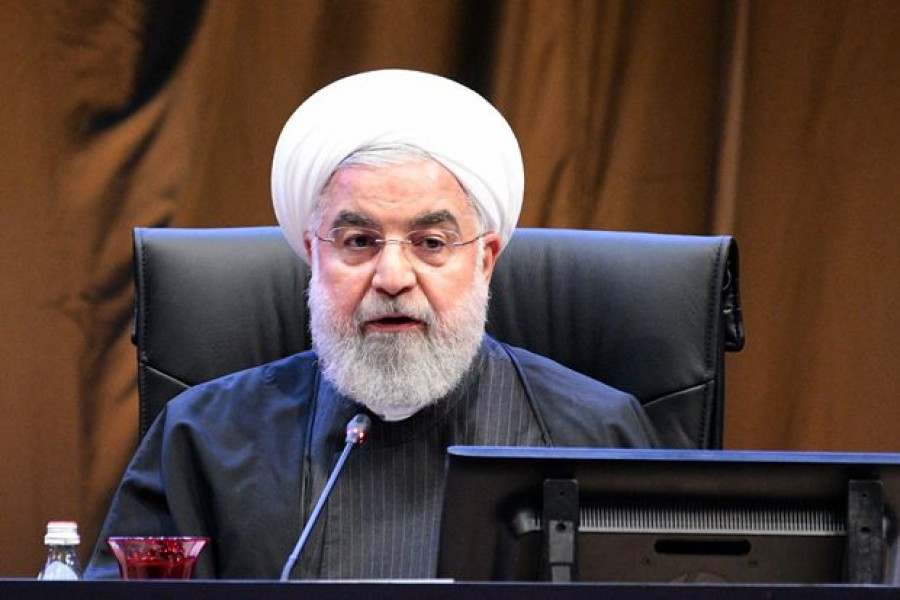Iranian president Hassan Rouhani speaks during the Kuala Lumpur Summit roundtable session in Kuala Lumpur, Malaysia, December 19, 2019. Malaysia Department of Information/Handout via Reuters/File Photo