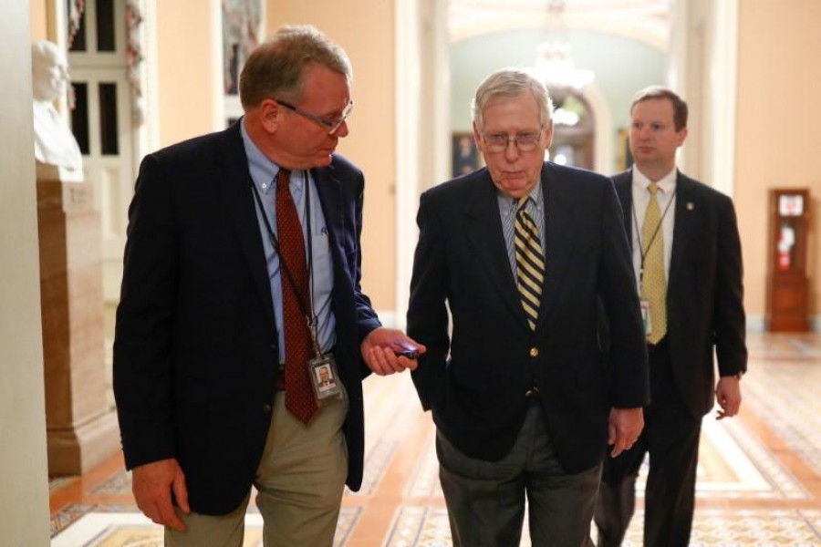 Senate majority leader Mitch McConnell (R-KY) walks to his office from the Senate Chamber ahead of a vote on Capitol Hill in Washington, US, January 13, 2020 — Reuters