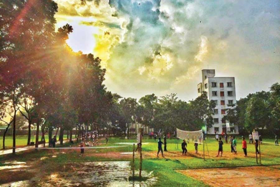 Students of BRAC University playing during their residential semester