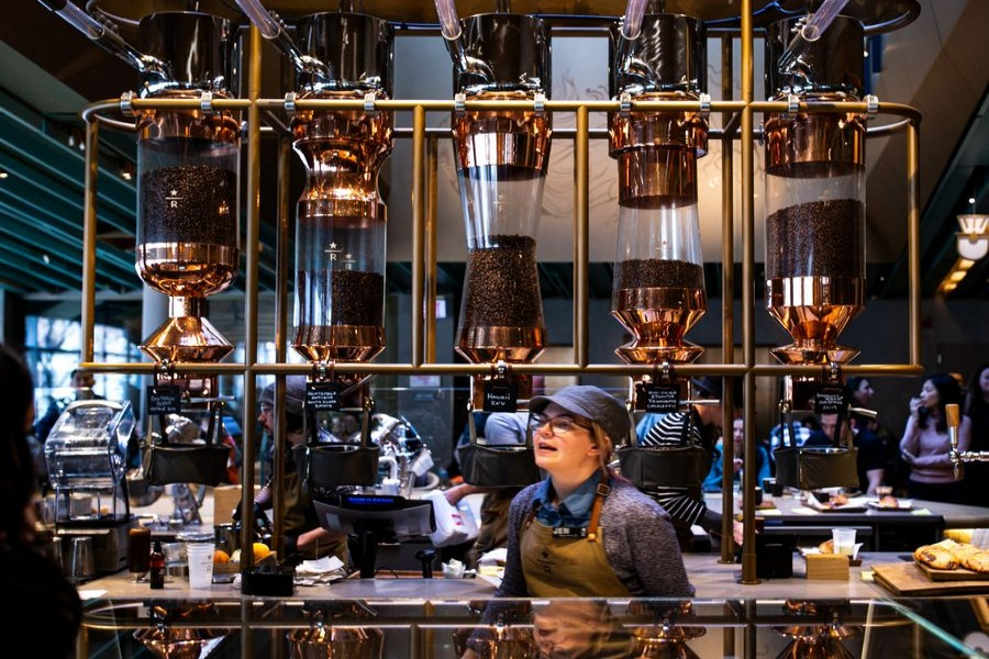 Various coffee beans are stored at the new Starbucks Reserve Roastery on Michigan Avenue in Chicago, the United States, Nov. 25, 2019. (Photo by Joel Lerner/Xinhua)