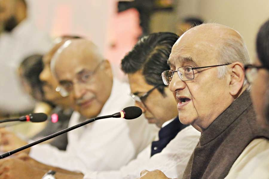 CPD Chairman Professor Rehman Sobhan speaking at a dialogue in the city on Tuesday — FE photo