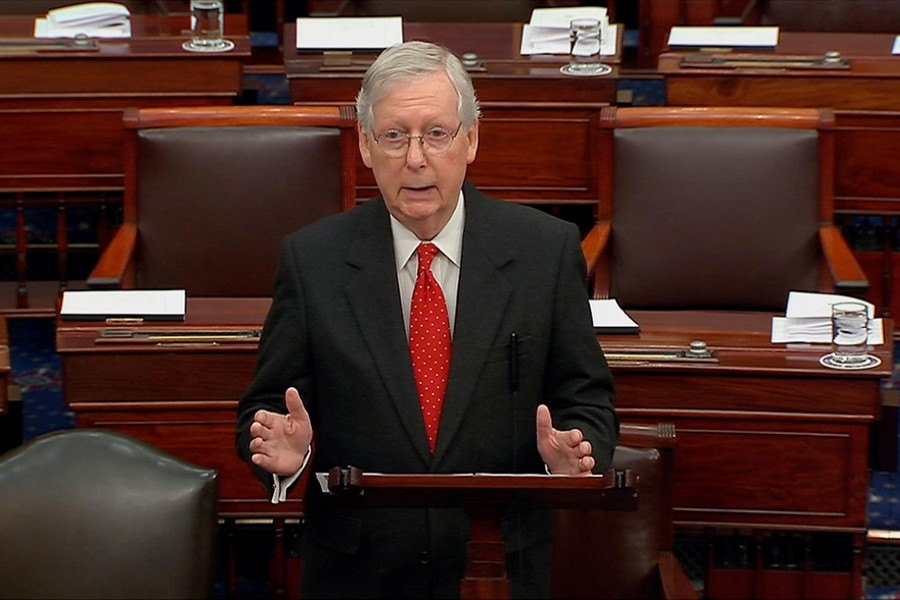 Senate Majority Leader Mitch McConnell (R-KY) speaks during debate ahead of the reconvening of the US Senate impeachment trial of US President Donald Trump in this frame grab from video shot in the US Senate Chamber at the US Capitol in Washington, US on January 21, 2020 — US Senate TV/Handout via Reuters