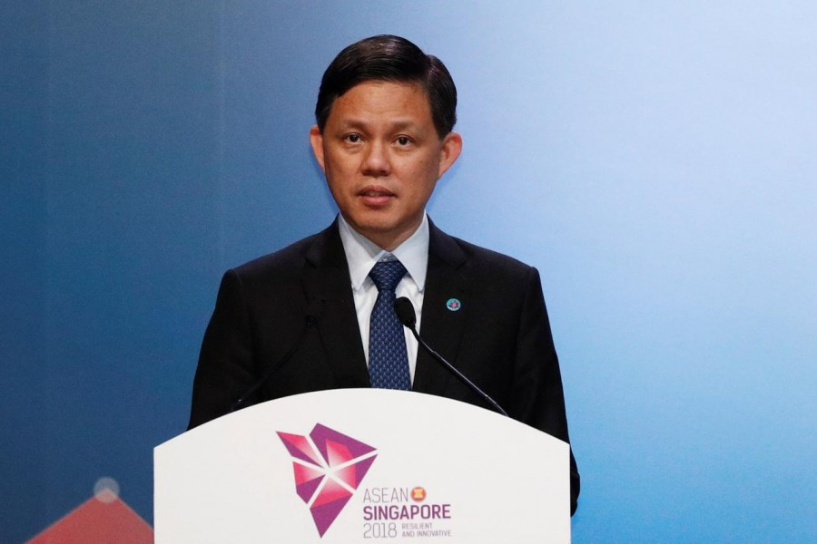FILE PHOTO: Singapore's Trade and Industry Minister Chan Chun Sing speaks before a signing ceremony of ASEAN Agreements at the ASEAN Summit in Singapore November 12, 2018. REUTERS/Edgar Su