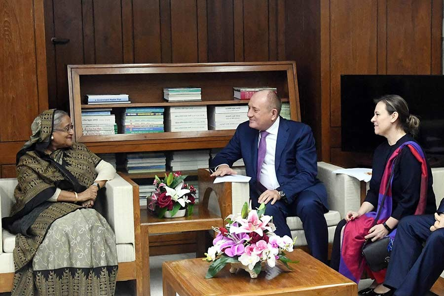 A delegation of Russian public joint stock company Gazprom paying a courtesy call on Prime Minister Sheikh Hasina at Sangsad Bhaban on Tuesday. -PID Photo