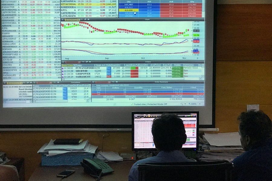 Investors monitoring stock price movements on computer screens at a brockerage house in the capital — FE/Files