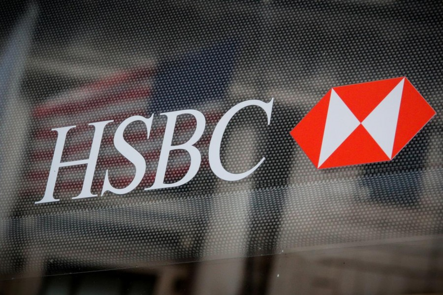 FILE PHOTO: HSBC logo is seen on a branch bank in the financial district in New York, U.S., August 7, 2019. REUTERS/Brendan McDermid