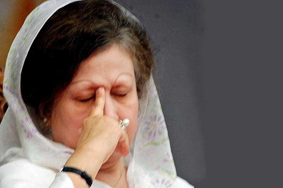 BNP Chairperson Khaleda Zia seen in this undated Focus Bangla photo