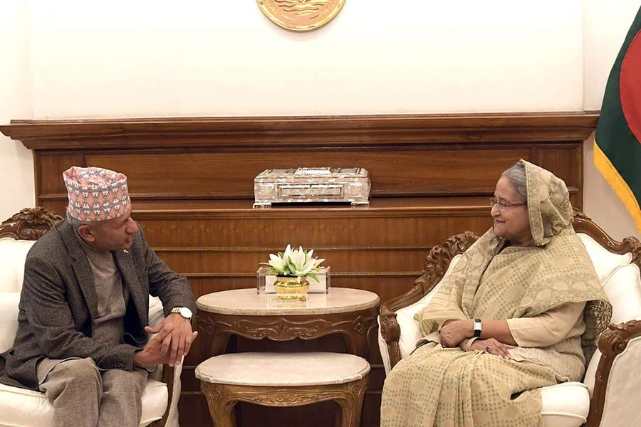 Nepalese Foreign Minister Pradeep Kumar Gyawali paying a courtesy call on Prime Minister Sheikh Hasina at PMO in Dhaka on Wednesday. -PID Photo