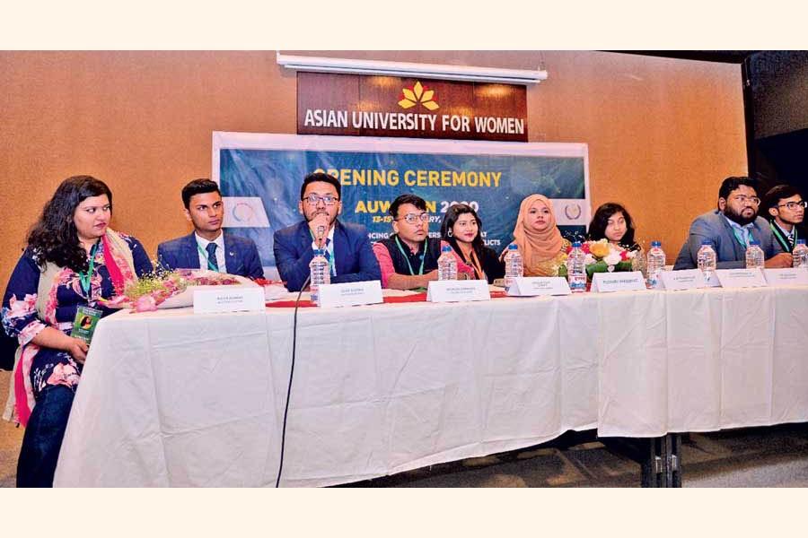 Opening plenary session of Asian University for Women International Model United Nations 2020