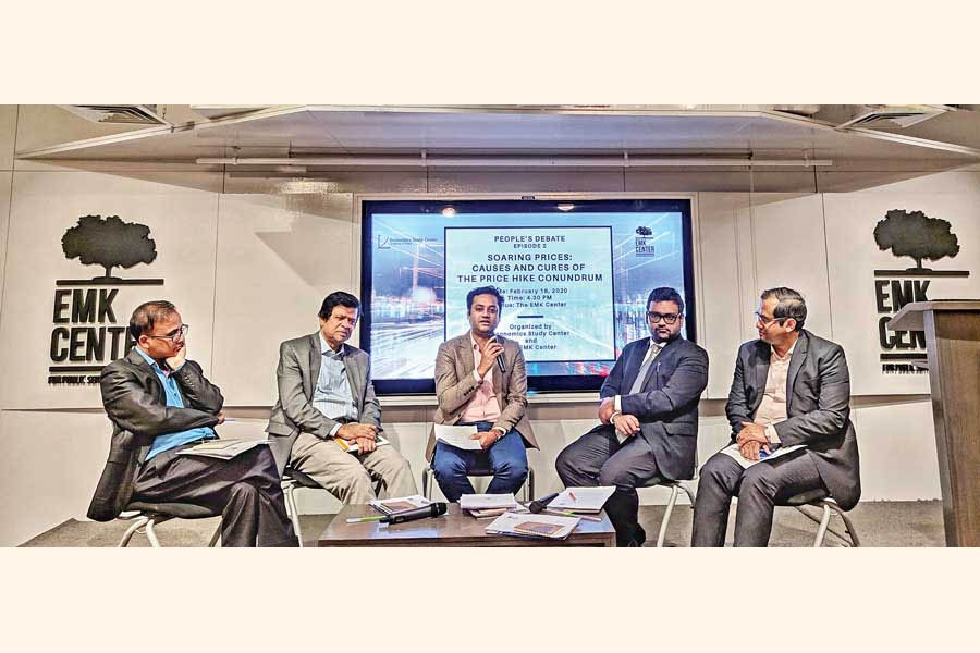 Panellists during discussion on price hike at EMK Center, Dhaka