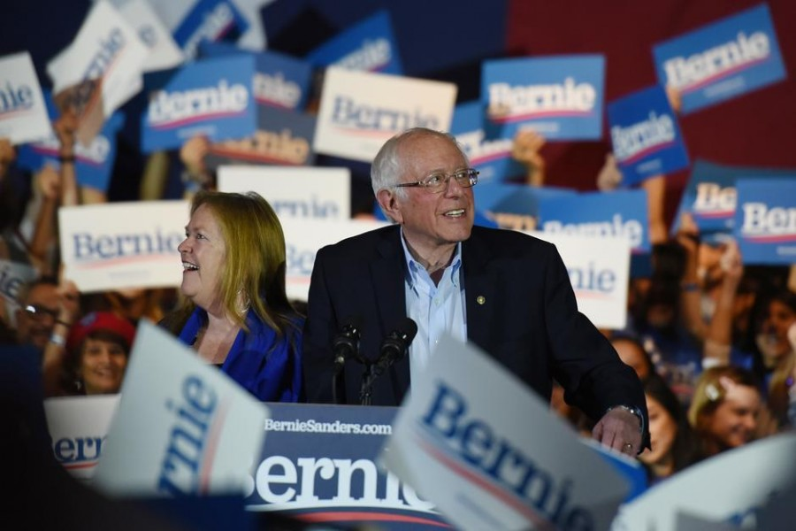 US Democratic presidential candidate senator Bernie Sanders celebrates with his wife Jane after being declared the winner of the Nevada Caucus while holding a campaign rally in San Antonio, Texas, US, February 22, 2020. Reuters