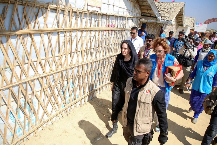 Actor Angelina Jolie visits a Rohingya refugee camp in Cox's Bazar, Bangladesh, February 5, 2019. REUTERS/Stringer