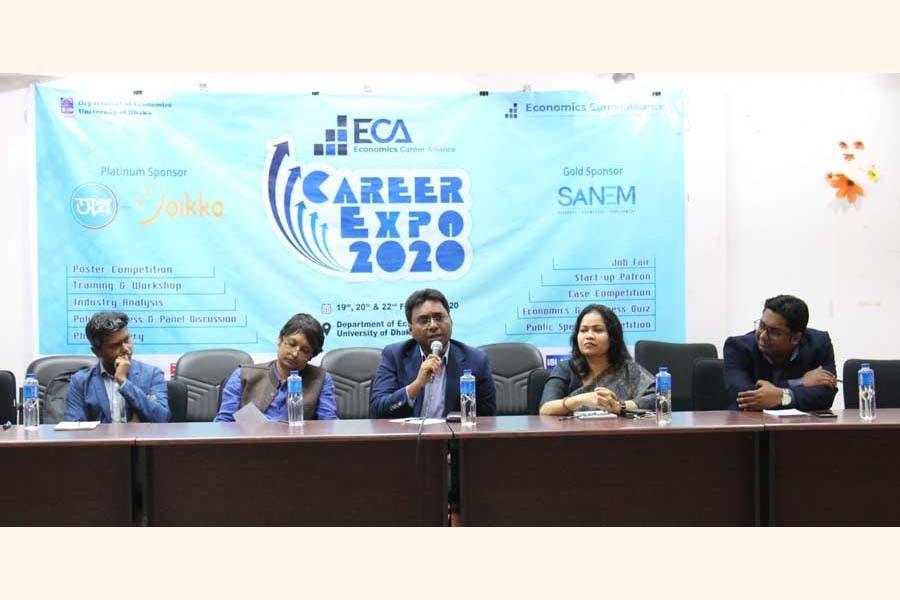 (From left to right) Zubayer Hossen, Professor Atonu Rabbani, Dr Selim Raihan, Dr Sayema Haque Bidisha and Mahtab Uddin at Career Expo 2020 held in Dhaka University