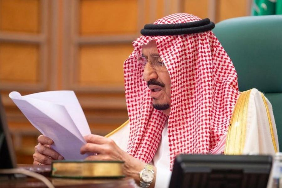 Saudi King Salman bin Abdulaziz speaking via video link during a virtual G20 summit on coronavirus disease (COVID-19), in Riyadh, Saudi Arabia on Thursday. –Reuters Photo