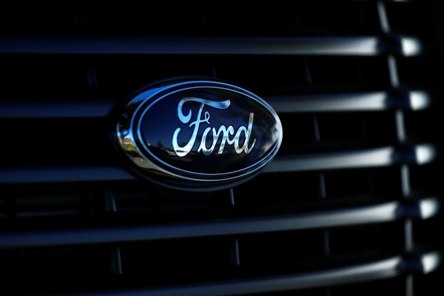 The front grill logo of a Ford pickup truck is seen in this photo taken in Carlsbad, California on November 5, 2014 — Reuters/Files