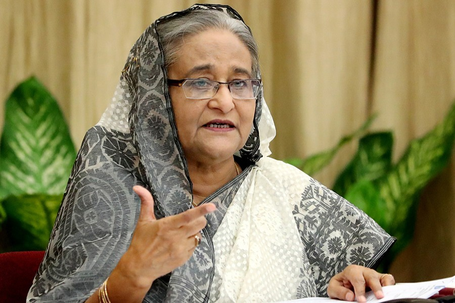 Prime Minister Sheikh Hasina is seen in this undated Focus Bangla photo