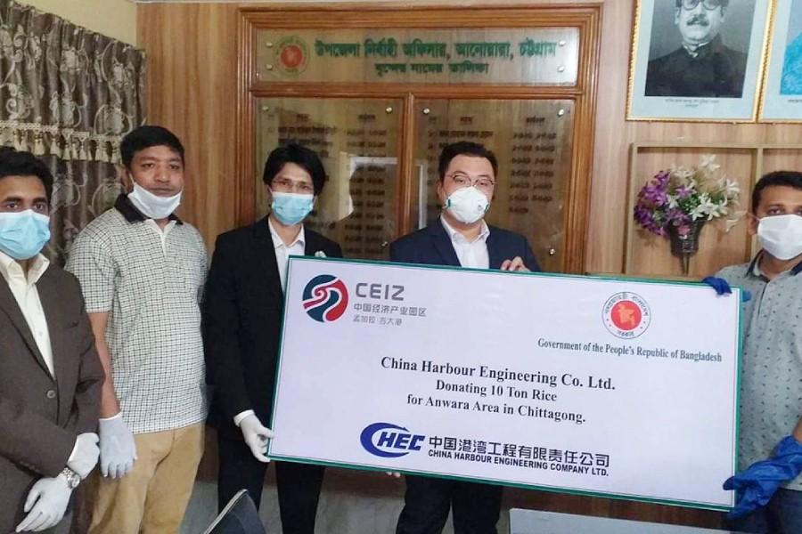 China Harbour donates rice for corona-hit people of Anwara upazila