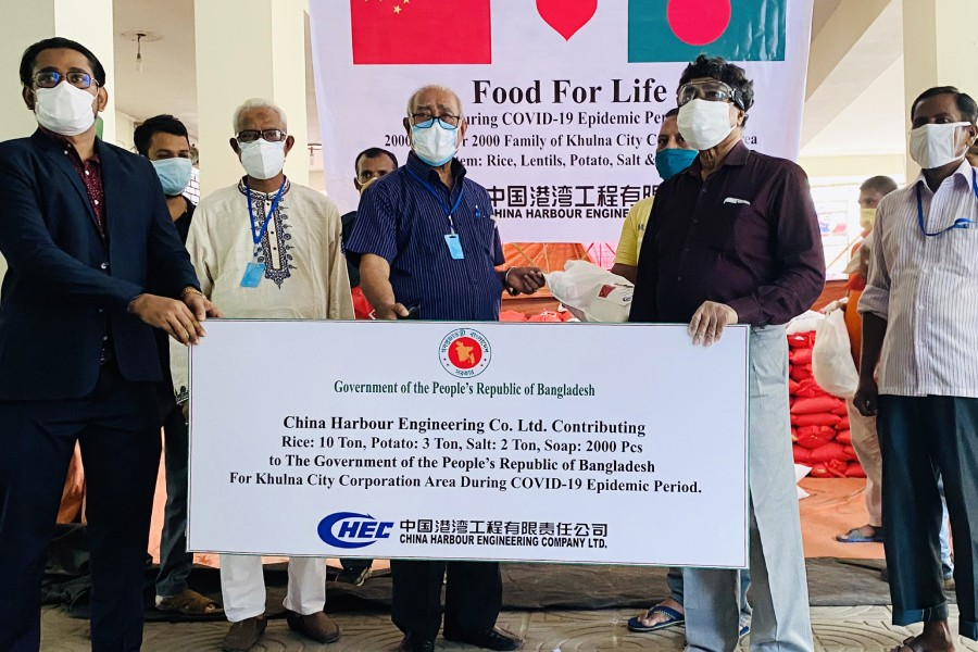 China Harbour provides relief materials for Covid affected people in Khulna