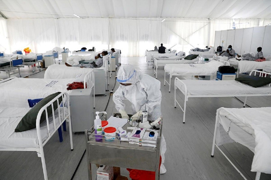 A nurse works inside a field hospital built on a soccer stadium in Machakos, as the number of confirmed coronavirus disease (Covid-19) cases continues to rise in Kenya, July 23, 2020 — Reuters/Files