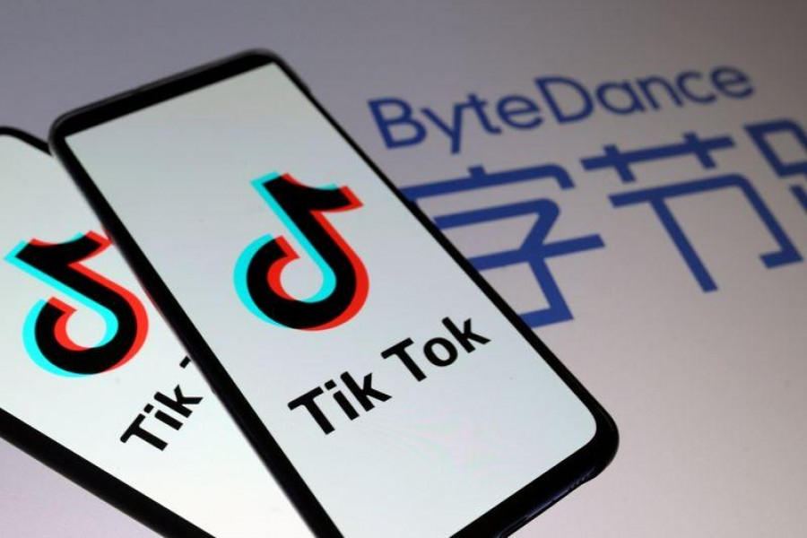 Tik Tok logos are seen on smartphones in front of a displayed ByteDance logo in this illustration taken on November 27, 2019 — Reuters/Files