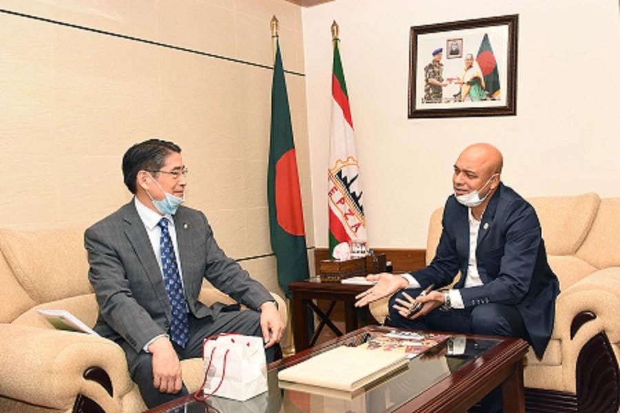 The Ambassador of Japan to Bangladesh Ito Naoki calls on Major General S M Salahuddin Islam, executive chairman of BEPZA, at the latter's office recently — Photo courtesy: BEPZA
