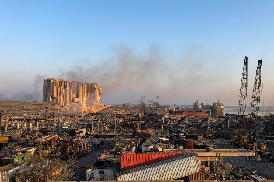 A view shows the aftermath at the site of Tuesday's blast in Beirut's port area, Aug. 5   Photo: REUTERS/Issam Abdallah