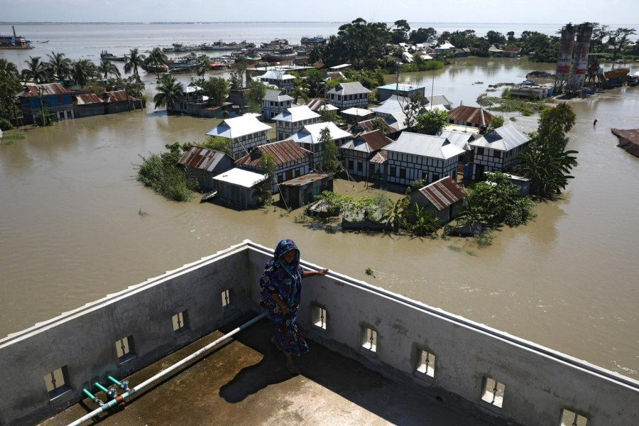 Houses located beside the Padma river are seen flooded as the flood situation worsens in Munshiganj district, on the outskirts of Dhaka, Bangladesh, July 25, 2020 — Reuters/Files