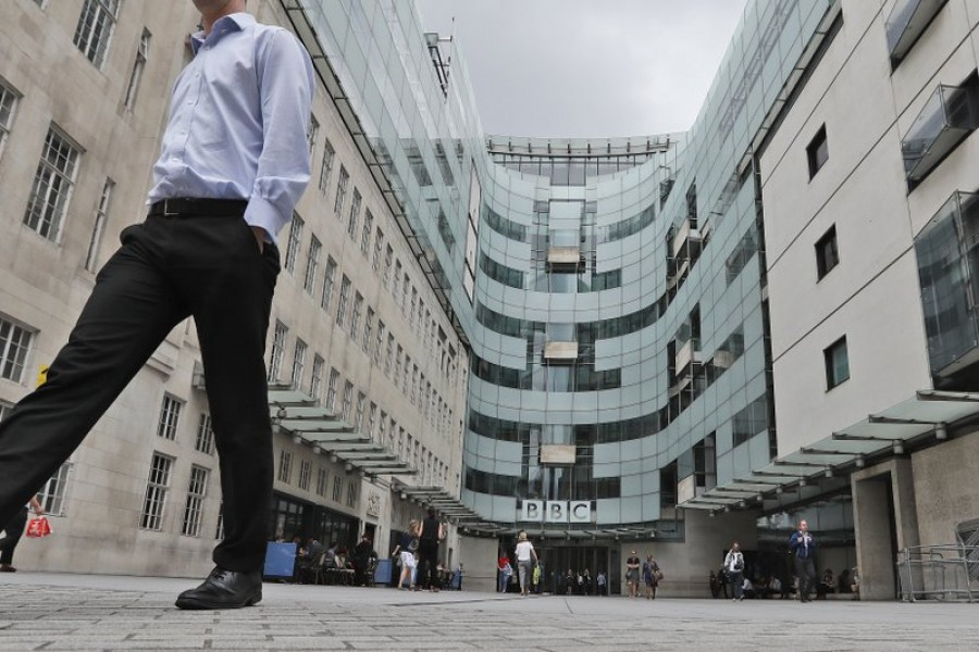 This July 19, 2017 photo shows the main entrance to the headquarters of the publicly funded BBC in London — AP/Files
