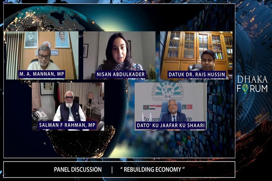 Speakers at a session of the virtual conference of Dhaka Forum in the city on Sunday