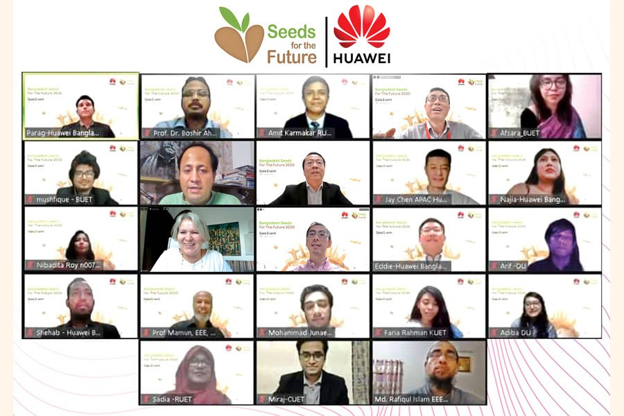 Winners of the 'Seeds for the Future 2020' during the gala event with guests and Huawei officials