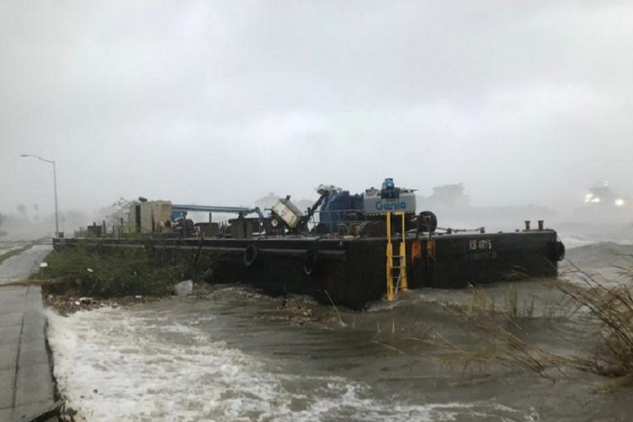 A Skanska company barge run aground along Bayfront Parkway from winds of Hurricane Sally is seen in Pensacola, Florida, US, September 16, 2020 — Tony Giberson/News-Journal/USA Today Network via Reuters